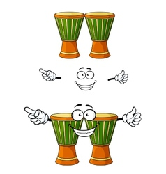 Cartoon african wooden djembe drum character vector