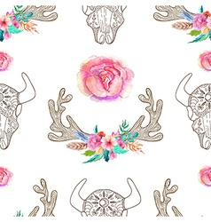 Doodle bull skull and horns with watercolor vector