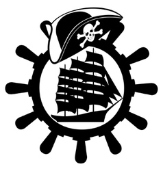 Pirate hat ships wheel and sailing ship vector