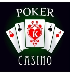 Poker game icon with four aces and king cards vector