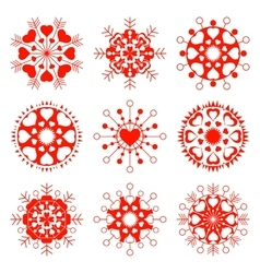 Ssnowflake heart view icon set christmas vector