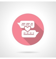 Romantic conversation round pink icon vector