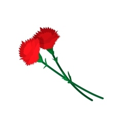 Two carnations cartoon icon vector image