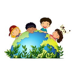 Children around the earth vector image