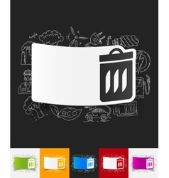 Trash can paper sticker with hand drawn elements vector