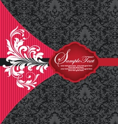Red and black damask invitation card vector
