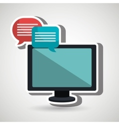 speech bubbles with computer isolated icon design vector image
