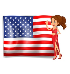 A beauty queen and the flag of the usa vector