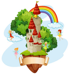 Banner design with fairies and castle vector