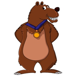 bear cartoon smiling with medal vector image vector image