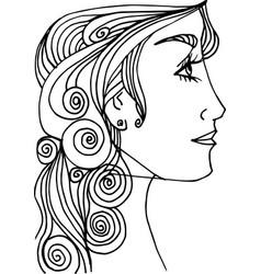 Beautiful woman face sketch vector