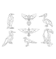 Bird triangular icon set vector image vector image