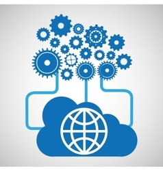 Cloud network globe earth connection design vector