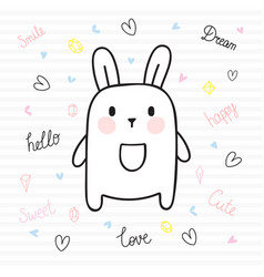 cute hand drawn postcard with funny bunny card vector image vector image