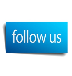 Follow us blue paper sign on white background vector