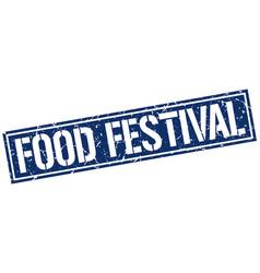 Food festival square grunge stamp vector