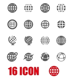 Grey globe icon set vector
