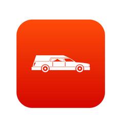 Hearse icon digital red vector