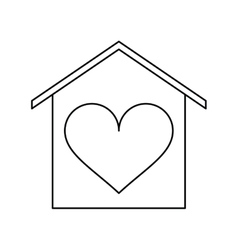 House love heart beauitful card outline vector