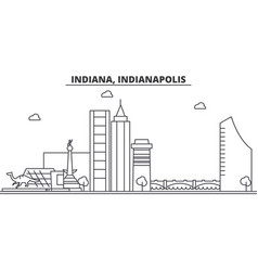 Indiana indianapolis architecture line skylin vector