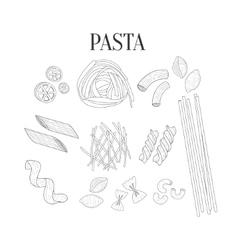 Italian Pasta Assortment Isolated Hand Drawn vector image vector image