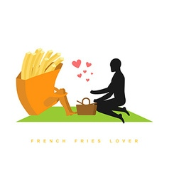 lover french fries Fast food at picnic Rendezvous vector image