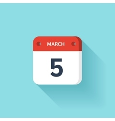 March 5 isometric calendar icon with shadow vector