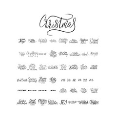 merry christmas brush lettering typography 50 vector image vector image