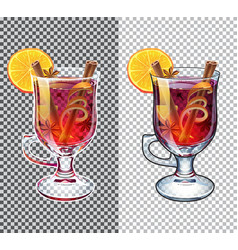 Mulled wine transparent autumn drink vector