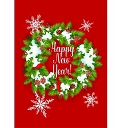 Pine fir wreath happy new year greeting card vector