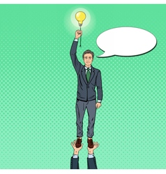 Pop Art Businessman with Lightbulb Team Work vector image