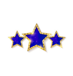 Retro light sign three gold blue stars vector