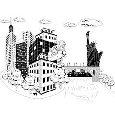 Santa claus with urban skyline vector