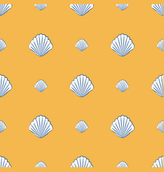 Seamless pattern with scallop shells marine vector