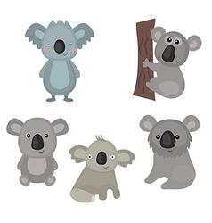 Set funny koalas vector image