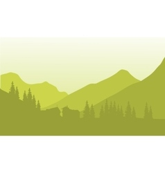 Silhouette of house below the mountain vector image
