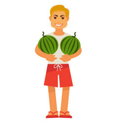 Smiling male person holds two watermelons full vector