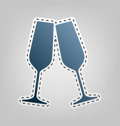 Sparkling champagne glasses blue icon vector
