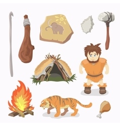 Stone age icons primitive man cavemen vector