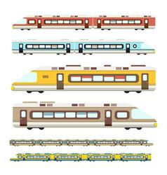 train flat design modern trains icons set vector image