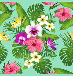 Tropical flowers and leaves vector