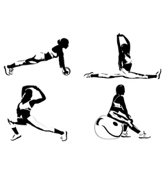 Women fitness exercising vector