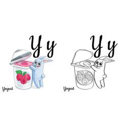 yogurt alphabet letter y coloring page vector image vector image