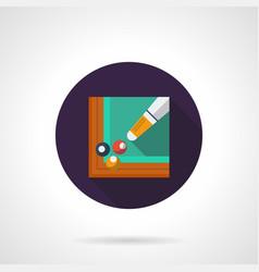 billiards tournament flat round icon vector image