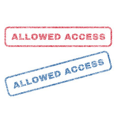 Allowed access textile stamps vector