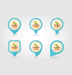 Plant with roots flat pin map icon garden vector