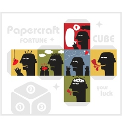 Paper cube with monsters for luck vector