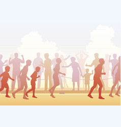 Runners and crowd vector