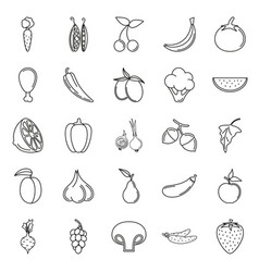 Food icon set vegetables and meat on white vector