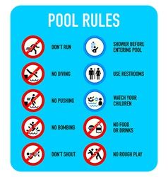 Pool rules signs vector image